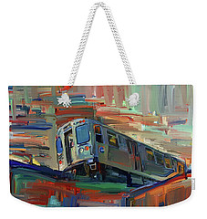 Chicago City Train Weekender Tote Bag
