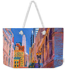 Chicago Cityscape With The Mather Tower Weekender Tote Bag