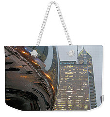 Weekender Tote Bag featuring the photograph Chicago Cloud Gate. Reflections by Ausra Huntington nee Paulauskaite