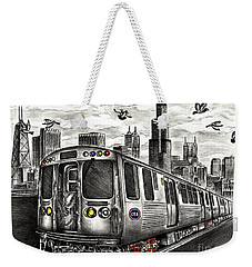 Chicago Cta Train Weekender Tote Bag