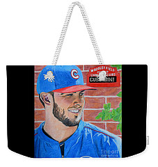 Weekender Tote Bag featuring the drawing Chicago Cubs Kris Bryant Portrait by Melissa Goodrich