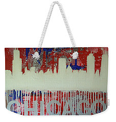 Weekender Tote Bag featuring the painting Chicago Drip by Melissa Goodrich