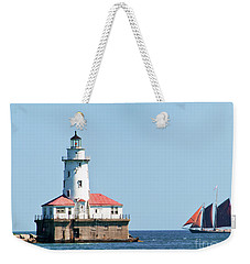 Chicago Harbor Lighthouse And A Tall Ship Weekender Tote Bag