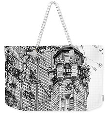 Weekender Tote Bag featuring the photograph Chicago Historic Water Tower Fog Black And White by Christopher Arndt