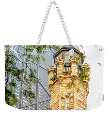 Weekender Tote Bag featuring the painting Chicago Historic Water Tower Fog by Christopher Arndt