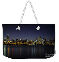Weekender Tote Bag featuring the photograph Chicago In Blue by Andrea Silies