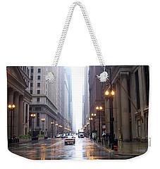 Chicago In The Rain Weekender Tote Bag
