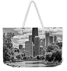 Weekender Tote Bag featuring the painting Chicago Lincoln Park Lagoon Black And White by Christopher Arndt