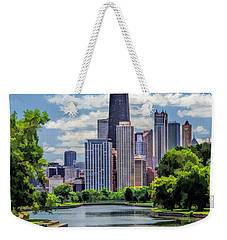 Weekender Tote Bag featuring the painting Chicago Lincoln Park Lagoon by Christopher Arndt