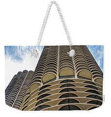 Weekender Tote Bag featuring the painting Chicago Marina Towers by Christopher Arndt