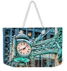 Weekender Tote Bag featuring the painting Chicago Marshall Field State Street Clock by Christopher Arndt