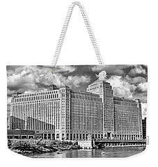 Weekender Tote Bag featuring the photograph Chicago Merchandise Mart Black And White by Christopher Arndt