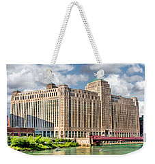 Weekender Tote Bag featuring the painting Chicago Merchandise Mart by Christopher Arndt