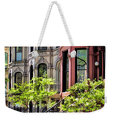 Weekender Tote Bag featuring the painting Chicago North Shore Greystones by Christopher Arndt