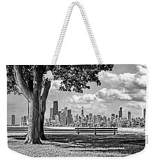 Weekender Tote Bag featuring the photograph Chicago North Skyline Park Black And White by Christopher Arndt