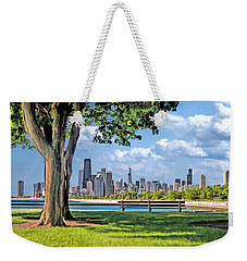 Weekender Tote Bag featuring the painting Chicago North Skyline Park by Christopher Arndt