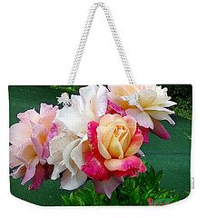 Weekender Tote Bag featuring the photograph Chicago Peace Roses by Sadie Reneau