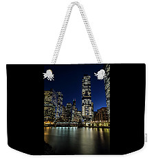 Chicago River And Skyline At Dusk  Weekender Tote Bag