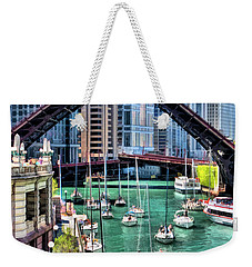 Weekender Tote Bag featuring the painting Chicago River Boat Migration by Christopher Arndt