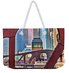 Weekender Tote Bag featuring the painting Chicago River Bridge Framed by Christopher Arndt