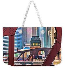 Chicago River Bridge Framed Weekender Tote Bag