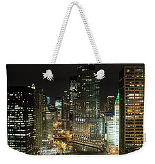 Chicago River Skyline At Night Weekender Tote Bag
