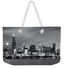 Chicago Skyline At Night Black And White  Weekender Tote Bag by Adam Romanowicz