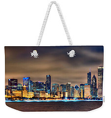 Chicago Skyline At Night Panorama Color 1 To 3 Ratio Weekender Tote Bag