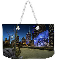 Chicago Skyline Form Maggie Daley Park At  Dusk Weekender Tote Bag