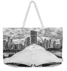 Weekender Tote Bag featuring the photograph Chicago Skyline From Navy Pier Black And White by Adam Romanowicz