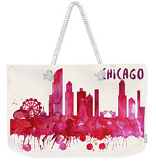 Chicago Skyline Watercolor Poster - Cityscape Painting Artwork Weekender Tote Bag