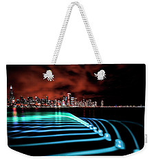 Chicago Skyline With Blue Pixel Stick Light Painting Weekender Tote Bag