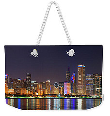 Chicago Skyline With Cubs World Series Lights Night, Moonrise, Chicago, Cook County, Illinois, Usa Weekender Tote Bag by Panoramic Images