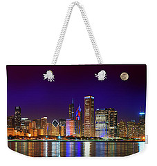 Chicago Skyline With Cubs World Series Lights Night, Moonrise, Lake Michigan, Chicago, Illinois Weekender Tote Bag