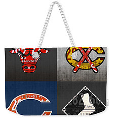 Chicago Sports Fan Recycled Vintage Illinois License Plate Art Bulls Blackhawks Bears And White Sox Weekender Tote Bag