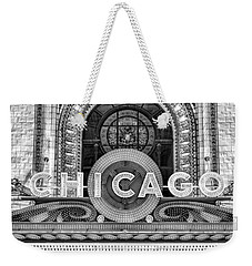Chicago Theatre Marquee Sign Black And White Weekender Tote Bag