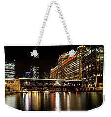 Chicago's Merchandise Mart At Night Weekender Tote Bag