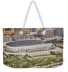 Weekender Tote Bag featuring the photograph Chicago's Soldier Field Aerial by Adam Romanowicz