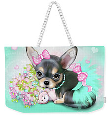 Weekender Tote Bag featuring the painting Chichi Sweetie by Catia Lee