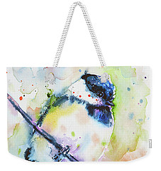 Weekender Tote Bag featuring the painting Chick-a-dee-dee-dee by Zaira Dzhaubaeva