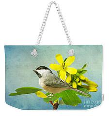 Chickadee And Flowers Weekender Tote Bag
