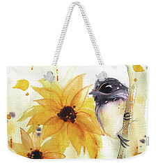 Weekender Tote Bag featuring the painting Chickadee And Sunflowers by Dawn Derman