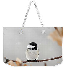 Weekender Tote Bag featuring the photograph Chickadee Bird In Snow by Christina Rollo
