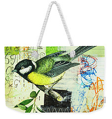 Weekender Tote Bag featuring the mixed media Chickadee by Elena Nosyreva