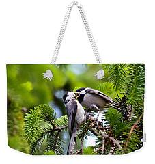 Chickadee Feeding Time Weekender Tote Bag