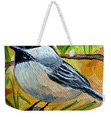 Chickadee In The Pines - Birds Weekender Tote Bag