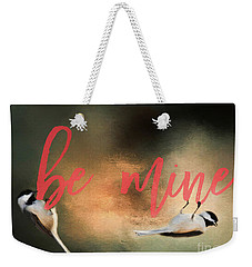 Weekender Tote Bag featuring the photograph Chickadee Love by Darren Fisher