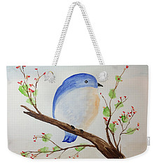 Chickadee On A Branch With Leaves Weekender Tote Bag