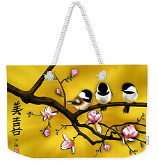 Chickadee On Blooming Magnolia Branch Weekender Tote Bag