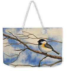 Chickadee On Branch Weekender Tote Bag by Brenda Bonfield